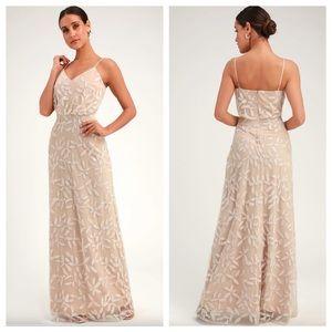 WAYF, Lulu's Savanna Beige Sequin Sleeveless Dress
